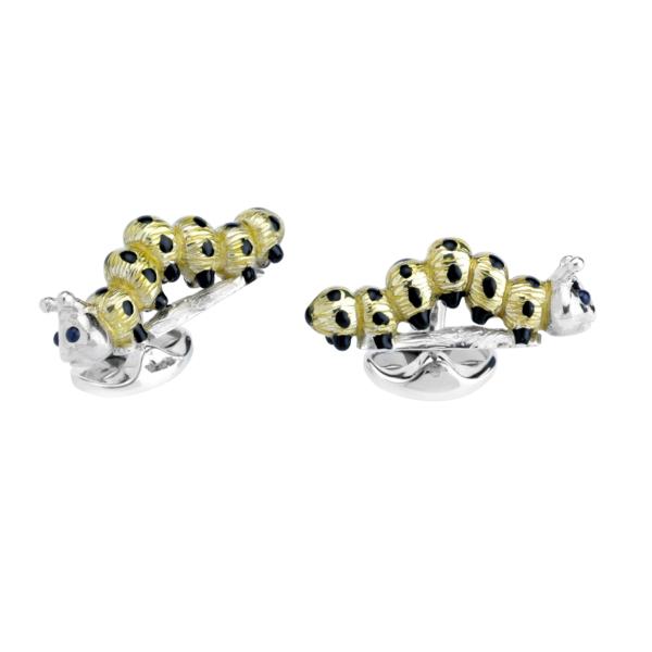 Sterling Silver Lemon Yellow and Black Enamel Caterpillar Cufflinks