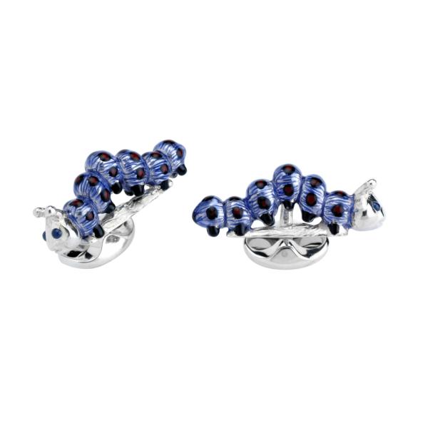 Sterling Silver Purple Caterpillar Cufflinks