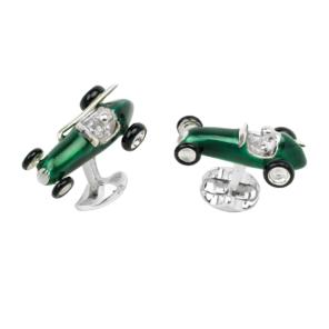 Sterling Silver Green Racing Car Cufflinks