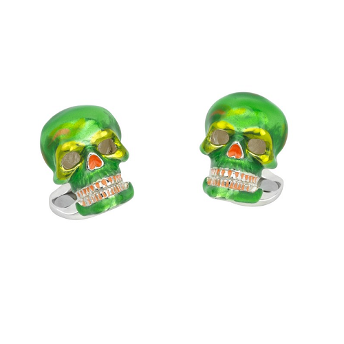 Sterling Silver Green and Orange 'Day of The Dead' Skull Cufflinks