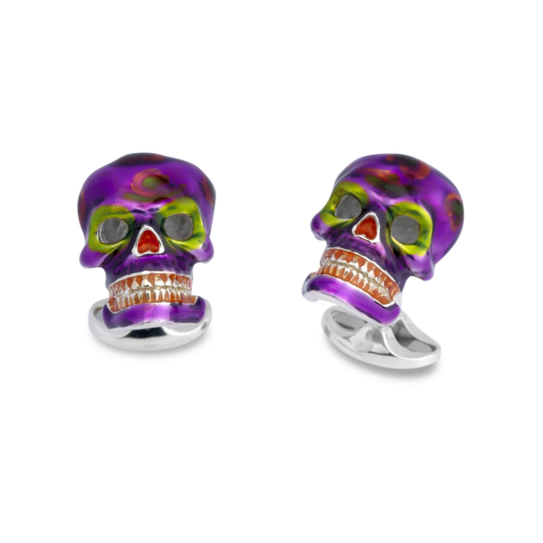 Sterling Silver Purple and Green 'Day of The Dead' Cufflinks