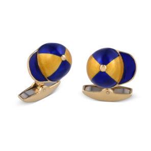 18ct Yellow Gold Blue And Clear Enamel Jockey Cap Cufflinks