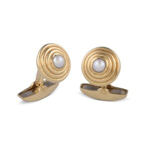 18ct Yellow Gold Cufflinks With Fresh Water Pearl Centre