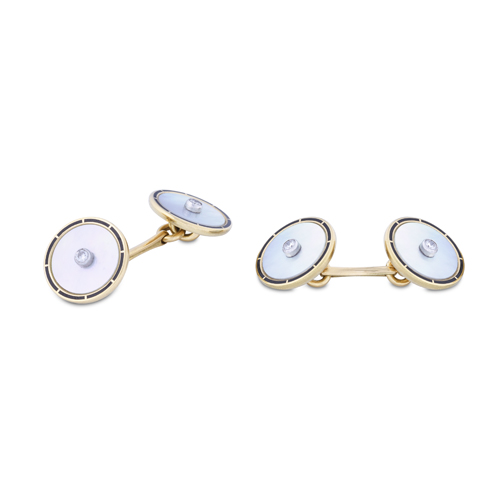 18ct Yellow Gold Mother-of-Pearl Cufflinks With Black Enamel Border And Diamond Centre