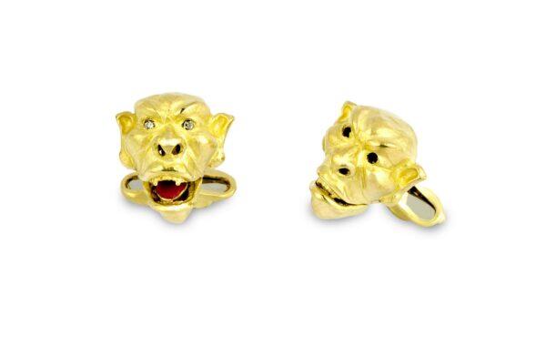 18ct Yellow Gold Gargoyle Cufflinks With Diamond Eyes