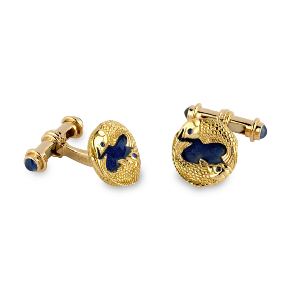 18ct Rose Gold Fish Cufflinks With Blue Enamel And Sapphire Ends