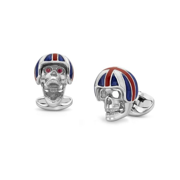 Sterling Silver Skull Cufflinks With Union Jack Helmet and Ruby Eyes