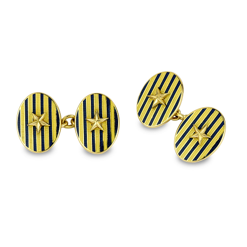 18ct Yellow Gold Cufflinks With Blue Stripe And Gold Star Centre