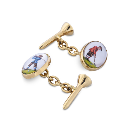 18ct Yellow Gold Hand-Painted Rock Crystal Golfer Cufflinks With Tee Fitting