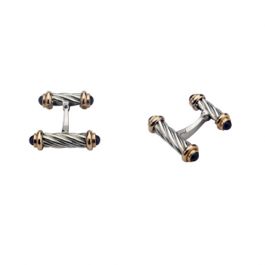 18ct White Gold Dumbbell Cufflinks With Rose Gold And Sapphire Ends