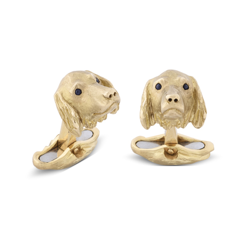 18ct Yellow Gold Spaniel Cufflinks With Sapphire Eyes