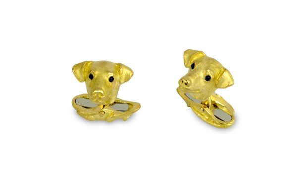 18ct Yellow Gold Jack Russell Cufflinks With Sapphire Eyes