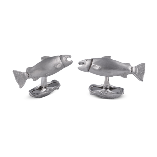18ct White Gold Moveable Salmon Cufflinks With Diamond Eyes