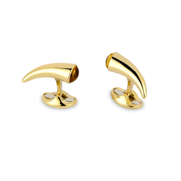 18ct Yellow Gold Horn Cufflinks With Citrine End