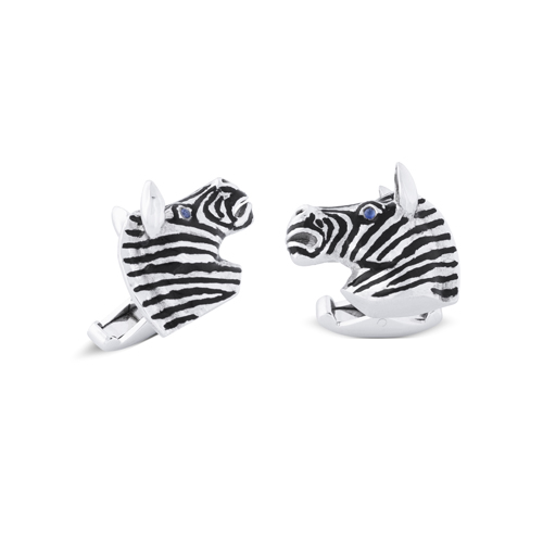 18ct White Gold Zebra Head Cufflinks With Sapphire Eyes