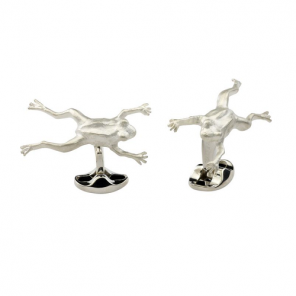 Sterling Silver Leaping Frog Cufflinks