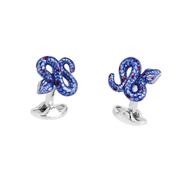 Sterling Silver Purple Snake Cufflinks