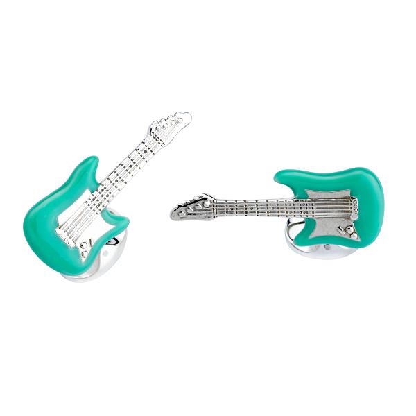 Sterling Silver Blue Enamel Guitar Cufflinks