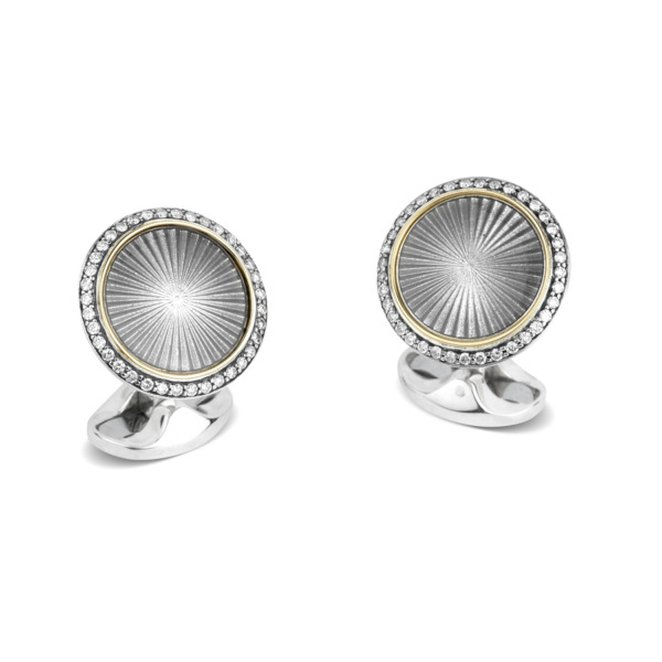 Sterling Silver & 18ct Yellow Gold Cufflinks With Grey Enamel Centre And Diamond Border