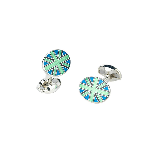 Sterling Silver Lime Green, Black and Blue Union Jack Cufflinks