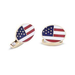18ct Yellow Gold USA Enamel Flag Cufflinks