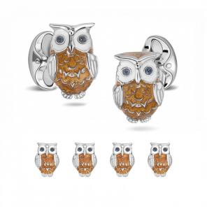 Sterling Silver Brown Owl Enamel Dress Stud Set